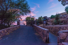 Twilight at the End of My Hike at Mount Rubidoux (SCSQ4) Tags: bluehour california end entrance favorite favoritepicture gate hike hiking hikingtrail mountrubidoux night pavedhikingtrail pavedtrail photohike pinkclouds riverside silhouette trail trees twilight