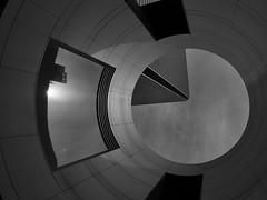 conspiracy in design (peaceblaster9) Tags: building hole architecture lookingup design ビル 建築 設計 デザイン 大阪 osaka blackandwhite bnw bw blackwhite monochrome モノクローム モノクロ 白黒