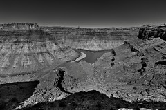 The End of a Hike and One Heck of a View! (Black & White, Canyonlands National Recreation Area) (thor_mark ) Tags: 1100feet335mdrop azimuth331 blackwhite blueskies canyonwalls canyonlands canyonlandsnationalpark canyons capturenx2edited centralcanyonlands colorefexpro coloradoplateau coloradoriver confluencecoloradoriverandgreenriver confluenceoverlook confluenceoverlooktrail day4 desertlandscape desertmountainlandscape desertplantlife differentrivercolors greenriver highdesert hiketoconfluenceoverlook intermountainwest landscape layersofrock lookingnw nature nikond800e outside project365 river riverconfluence riverconfluenceoverlook silverefexpro2 sunny thegreenandcoloradorivers theneedlesdistrict trees utahhighdesert utahnationalparks2017 utah itedstates