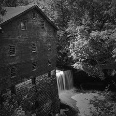 The Old Mill (Valley Imagery) Tags: historic mill river summer water day contrast black white building trees waterfall lantermans youngstown ohio mahoning county sony a99ii