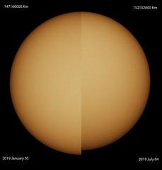Sun :Aphelion vs Perihelion (Gianluca Belgrado Astronomy) Tags: sun sole telescopio canon700d astrosolar afelio perielio astrofotografia astrophotography