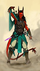 Tiefling (justin pyne) Tags: justin pyne tiefling dd dungeons dragons roleplay character commission red skin devil horns tail turquoise design fantasy sci fi science fiction photoshop illustration drawing tablet