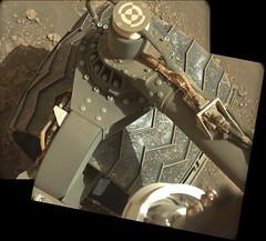 Damage from Seven Years 2 (sjrankin) Tags: 11july2019 edited nasa mars msl curiosity galecrater panorama wheel holes tread