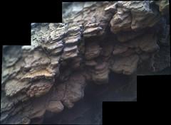 Decomposing Rocks, variant (sjrankin) Tags: 11july2019 edited nasa mars msl curiosity galecrater panorama closeup blurry rocks layers decomposing
