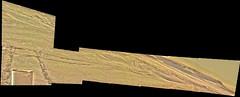 Curiosity's Wheel Tracks, variant (sjrankin) Tags: 11july2019 edited nasa mars msl curiosity galecrater panorama colorized bayerdecoded processed app output wheeltracks treadmarks mountains sky haze