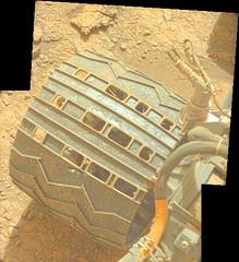 Damage from Seven Years 1, variant (sjrankin) Tags: 11july2019 edited nasa mars msl curiosity galecrater panorama wheel holes tread