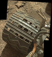 Damage from Seven Years 1 (sjrankin) Tags: 11july2019 edited nasa mars msl curiosity galecrater panorama wheel holes tread