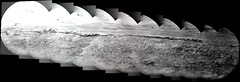 Rocky Ridge Layer (sjrankin) Tags: 11july2019 edited nasa mars msl curiosity galecrater panorama grayscale zoom layer ridge