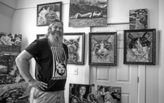 An Artist and his Cats (vtom61) Tags: nikonn80 artist painter paintings cats cat ilford ilfordpanfplus nikon nikon24mmf28 georgetown seattle film gallery