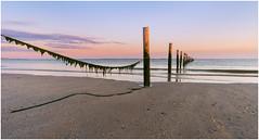 Tranquility at the beach (Rob Schop) Tags: maasvlakte tranquility wideangle samyang12mmf20 f11 sonya6000 beach softlight poles seascape sunset lastlight purple rope noordzee lrcc
