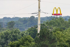 McDonald's (ezeiza) Tags: oklahoma ok tulsa mcdonalds goldenarches golden arches fastfood fast food restaurant drivethrough drivethru drive through thru sign pole wire cable line tree green route66 route 66