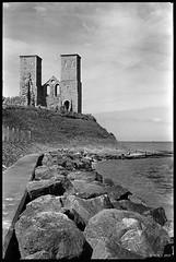 Towers (MartPics1968) Tags: leicam42 summicron50mmf2 landscape blackwhite beach reculvertowers reculver kent 35mmfilmcamera 35mmfilm 35mm rangefinder bwyellowfilter kodaktrix400 ilfordid11developer epsonv550photoscanner