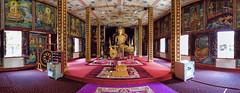 Inside Wat Luang (toastal) Tags: buddha laos pakse pakxe colorful interior paintings panorama prayer temple vat wat darktable hugin happyplanet asiafavorites buddhisttemple pakselaos lao cozy southernlaos