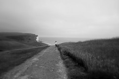 my way (majka44) Tags: way blackandwhite atmosphere coast light people landscape sea road grass view bw