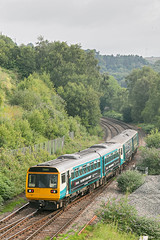 143623 142072 2D04 0702 Penarth - Bargoed south of Bargoed station 10.07.2019 (The Cwmbran Creature.) Tags: british rail class train trains railway 142 143 pacer transport for wales tfw
