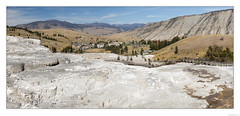 Mammoth Hot Springs (John Cothron) Tags: 5dmkii americanwest cpl cothronphotography distagon352ze georgiaphotographer interiorwest johncothron mountainstates mountainwest northwest thewest us usa usaphotography unitedstatesofamerica westernregion wyoming yellowstonenationalpark zeissdistagont352ze afternoonlight autumn circularpolarizingfilter clearsky fall landscape mineral nature outdoor outside panorama rockformations scenic summer sunny thermalactivity trail travel volcanic img04521110922panocoweb7112019 ©johncothron2011 mammothhotsprings