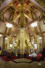 Inside Wat Phra That Nong Bua (toastal) Tags: buddhism buddhisttemple hugin isaan thailand ubon ubonratchathani watphrathatnongbua architecture golden interior meditate panorama prayer temple verticalpanorama wat worship