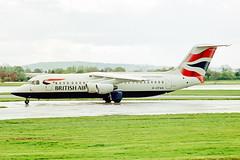 G-CFAA 1 British Aerospace (Avro) B.Ae 146-RJ100 British Airways (BA CityFlyer) MAN 01MAY02 (Ken Fielding) Tags: gcfaa britishaerospace avro bae146rj100 britishairways bacityflyer aircraft airplane airliner jet jetliner regionaljet