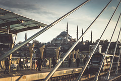 A confusion of elements (Through_Urizen) Tags: architecture category external halic istanbul places turkey metro train transport vehicle city skyline cityscape mosque minaret lines shapes patterns station stop bridge crossing travelphotography canon1585mm canon70d canon