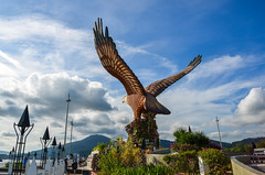 Eagle Square in Langkawi, Malaysia (phuong.sg@gmail.com) Tags: afternoon air animal architecture art asia asian attraction big bird blue city clouds colors destinations eagle falcon famous feathers flying freedom holiday island kuahjetty landmark langkawi malaysia malaysian monument nature orange sculpture sea sightseeing sky southeast square statue stone symbol talons tourism tourist travel wings