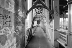 High Bridge, Newcastle (mikepeters) Tags: ilford film fp4 analogue vintage high bridge river tyne newcastleupontyne graffit grunge filmgrain blackandwhite monochrome praktika 35mm mtl5 negativescan epson v850 analog fp4plusfp4