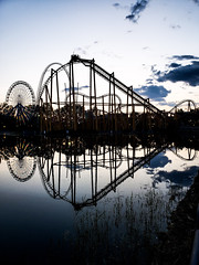 La Ronde rollercoaster reflections (MassiveKontent) Tags: park rides ride recreation vintage fairground carnival summer carousel architecture attraction big rollercoaster loop looping metal movement coaster scream sky speed steel theme thrill track silhouette reflection reflections water laronde