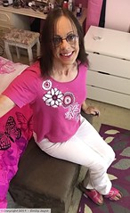 June 2017 - new jeans (Girly Emily) Tags: crossdresser cd tv tvchix trans transvestite transsexual tgirl tgirls convincing feminine girly cute pretty sexy transgender boytogirl mtf maletofemale xdresser gurl glasses smile jeans mules flipflops sliders bedroom pink