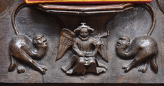 Christchurch, Dorset, priory church, stalls, misericord (groenling) Tags: christchurchpriory dorset hampshire twynham england britain greatbritain gb uk priorychurch choir stalls choirstalls wood carving woodcarving misericord angel crown scroll animal hybrid