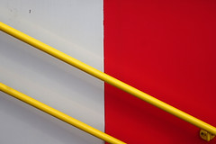 Colours (Tawny042) Tags: red white yellow wall handrail london hx90 sony colour