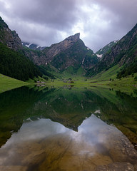 No light yet, but perfect reflections (ramvogel) Tags: sony a6300 sigma sigma16mmf14 seealpsee water see mountain berg reflection lake clouds switzerland appenzell apsc