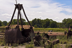 Chestnut (jkotrub) Tags: color colorful coloring2019 colour coloring chestnut brown red rust green blue sky summer grass field trees old metal vintage decay abandoned sun alone pipes steam crane shovel texture hard