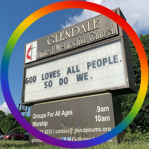 God loves all people. So do we. | Glendale United Methodist Church - Nashville Sign