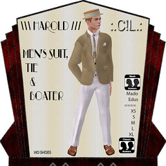 :.C!L.: Harold Elegant Closed Front Suit & Boater Set Poster (:.C!L.: Boutique) Tags: release new vintage sl slfashion fashion mesh fitmesh classic men 1920s suit style mado edus jacket elegant flannel trousers knitted tie boater conservative roaring