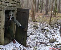Post Nuclear Morning (Bo Ragnarsson) Tags: fallout postnuclear apocalyptic gasmask youneedagasmask postapocalyptic postwar radioactive radiation biohazard gasmaskselfie gasmasked vault shelter falloutshelter forest