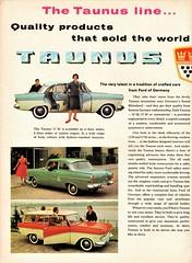 1960 Ford Taunus Ad (Argentina) Pg. 1 (aldenjewell) Tags: 1960 ford taunus 12m 17m sedan station wagon fk1000 omnibus pickup german ad