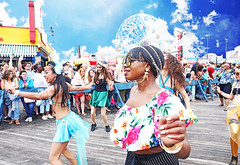 Beautiful (kirstiecat) Tags: beautiful mermaids mermaidparade newyorkcity brooklyn nyc coneyisland people diversity wonderwheel sky nathans