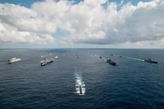 "Australian, U.S. and Japanese vessels sail in formation during Talisman Sabre 2019 (#PACOM) Tags: ussronaldreagan cvn76 indopacific exercisetalismansabre2019 coralsea usindopacificcommand ""usindopacom"