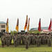 Soldier stand in formation following the uncasing of their colors during a Transfer of Authority ceremony
