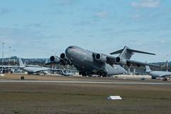 "C-17A Globemaster III takes off from the RAAF Base Amberley flightline during Talisman Sabre 19 (#PACOM) Tags: exercisetalismansaberexercisetalismansabretalismansabre19ts19 australia brisbane queensland usindopacificcommand ""usindopacom"