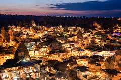 Göreme dusk (pietkagab) Tags: goreme cappadocia turkish turkey dusk sunset night nightfall lit city cityscape evening asia anatolya pietkagab photography pentax piotrgaborek pentaxk5ii travel trip tourism sightseeing rock formations buildings houses adventure