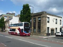 Lothian 753 passes former tram depot offices on Leith Walk, Edinburgh. (calderwoodroy) Tags: bus scotland edinburgh leith doubledecker leithwalk lothian lothian100 lothianbusescentenary lothianbuses edinburghtransport transportforedinburgh 753 service25 sn56aaj volvo wrightbus b7tl eclipsegemini
