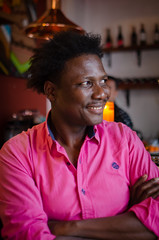 DSC_2509 (johnmoralesh) Tags: portrait closeup people pink nikon 35mm photography photoshoot smile focus shirt