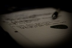 When you don't find a story that suits you, create your own...! (kpikoulas) Tags: art inspiration lyrics music paper pen pick song words text monochrome handwriting page writing stilllife blackandwhite monochromephotography