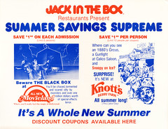 Movieland and Knott's Berry Farm (jericl cat) Tags: movieland knotts berryfarm jackinthebox restaurant promo promotion sale blackbox coupon standee pop summer discount logo gunfight clown circus illustration wax museum park buena