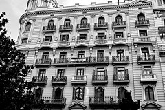 Via Laeitana - Architecture (Fnikos) Tags: street road building architecture arquitectura balcony balconies door window reflection wall facade fachada façana tree design decoration sky cielo blackandwhite monochrome absoluteblackandwhite outside outdoor