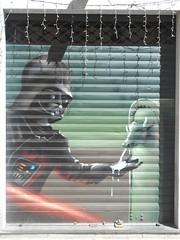 342 (en-ri) Tags: darth feer torello fontanella torino wall muro graffiti writing verde nero spada laser serranda