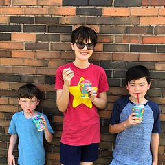 What makes these kids happy? Slurpees! What makes them extra happy? Free Slurpees!! What makes me happy? Slurpees with these knuckleheads. Thanks, @7eleven