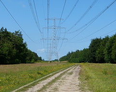 Power towers in Valtherbos near Emmen - Drenthe (joeke pieters) Tags: 1480310 panasonicdmcfz150 valtherbos emmen drenthe nederland netherlands holland hoogspanningsmast transmissiontower electricpylon powertower bijzonderebergwandeling landschap landscape landschaft paysage