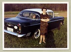 "Opel Kapitän P 2,5 (Vintage Cars & People) Tags: white black classic cars car lady vintage photography photo automobile foto fifties 1950s sw motor 50s opel kapitän schlüsselloch wirtschaftswunder ""blackwhite"" opelkapitän economicmiracle schlüssellochkapitän style color colour kodak kodacolor woman fashion shoes pattern pumps dress"