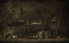 the chthonian kitchen (mutabor) (Ephorea) Tags: kitchen underground chthonic chthonian unconscious subconscious interior decoration mutabor alchemy alchemist vermin transformation underneath dark darkness shadow spicery ingredient secret expectation underworld hades vanitas night twilight light black ephorea ray gloom obscurity eclipse